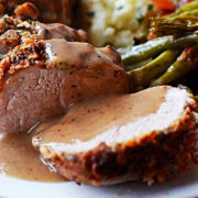 Pecan Crusted Pork Tenderloin with Apple Cider sauce
