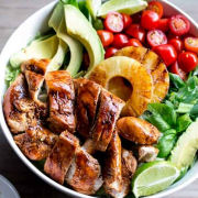 BBQ chicken salad with garlic and lime
